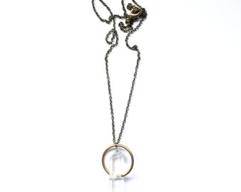 HALO | Double Terminated Quartz Crystal on Simple Brass Ring Pendant Necklace