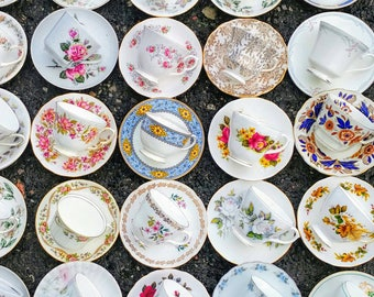 50 (100 pcs) Vintage Mismatched China Tea Cups and Saucers Duos Set Floral Chintz Tableware Mad Hatters Party Wedding Crockery Job Lot Mix