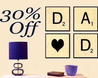 Printable Father's Day Gift - Gift For Dad -Art Set -INSTANT DOWNLOAD Printable Art -DIY Dad Gift -Digital Scrabble Art -Dad with Heart Tile