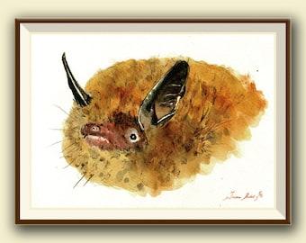 Brandt's bat (Myotis brandtii) -Bat art -  Original watercolor painting- Juan Bosco