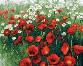 Instant Download Counted Cross Stitch Chart PDF Pattern N68ld - Poppy Field