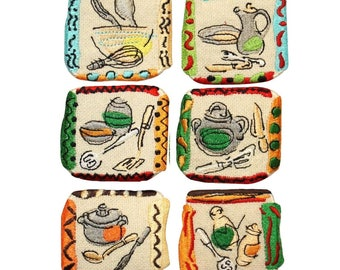ID 1227A-F Set of 6 Assorted Cooking Badge Patches Embroidered Iron On Applique