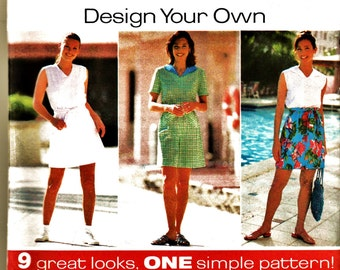 Retro Simplicity Design Your Own Pattern 7580 Tennis or Summer Split Skirt Dress Plus Sz 18-22 Uncut FF Beach Resort Wear Sewing Supply