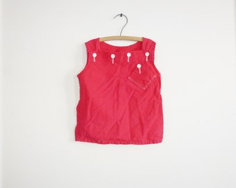 Vintage Girl's Red Top