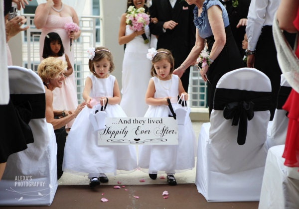 Bridal Wedding Sign, Marriage Sign, And they lived Happily Ever After with Here Comes the Bride. 8X24 in, 2-Sided. Ring Bearer, Flower Girl.