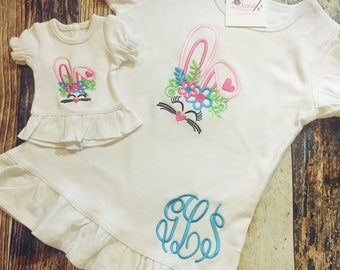 """Matching Girl's and Doll's Easter Shirt - Personalized Bunny Tshirt - Rabbit Embroidered Top - 18"""" Doll Clothes - Monogrammed Shirts"""