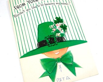 Secret Pal St. Patrick's Day Greeting Card, Irish, Green Leprechaun Hat   (594-13)