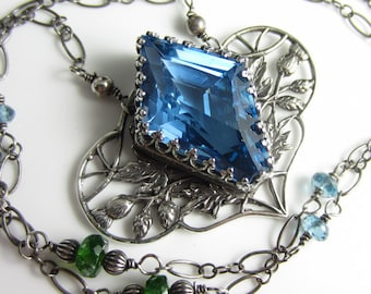 When a Bead isn't a Bead Necklace - London Blue Topaz, Sterling Silver and Chrome Diopside