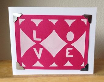 "Graphic ""love"" print - silkscreen greeting card"