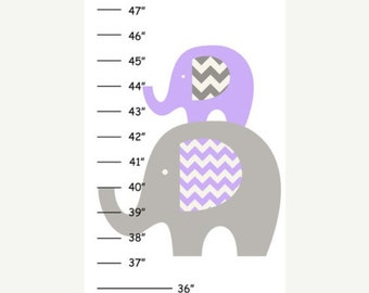 ON SALE Personalized Purple Grey Elephant Canvas Growth Chart