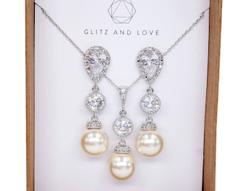 Bridal Earrings, Bridesmaid earrings, Swarovski pearl Earrings Necklace, Wedding Bridal Jewelry Set - Charlotte