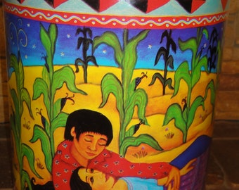 Frieda Kahlo and Diego Rivera Style Tin/ Dated 1988/ Signed D Breyer