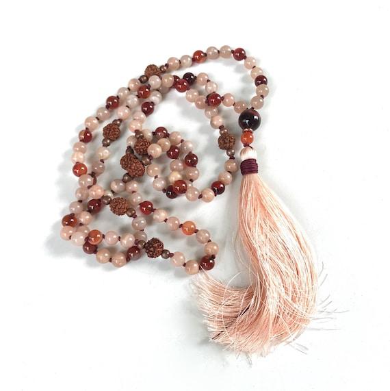 Sunstone Mala Beads, Red Tiger Eye Mala, 108 Bead Knotted Mala, Peach Mala Beads, Yoga Meditation Beads, Yoga Jewelry, Mala Bead With Tassel