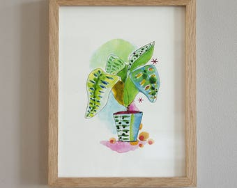 Illustration watercolor pot and plant leaves colorful paper fine art