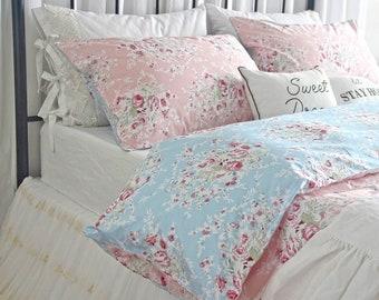 Reversible Duvet Cover King Shabby Roses Floral Bedding Queen Egyptian Cotton Duvet Cover Bed Sets