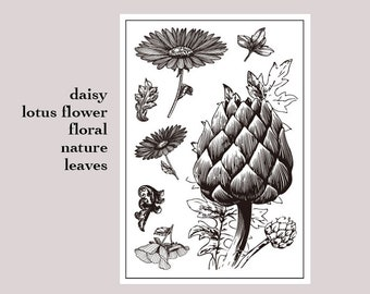 clear stamp set /clear stamps /BOJO Journal stamp/flower themed daisy lotus flower garden leaves