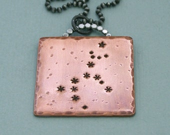 Unicorn Constellation Necklace - Monoceros - Hand Stamped Copper and Sterling Silver