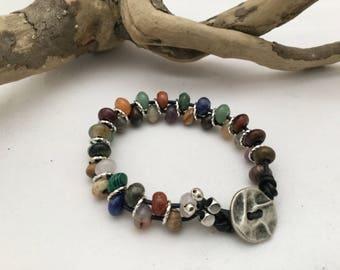 Multi Gemstone Rondelle Beaded Bracelet