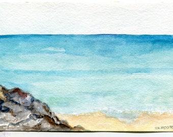 Aruba original watercolor painting, seascape watercolor Original 4 by 6 Aruba, original ocean art, watercolor seascapes art