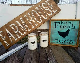 Farmhouse style signs ***clearance sale***.  Farmhouse fresh, chicken, egg sign. Farmhouse kitchen signs.