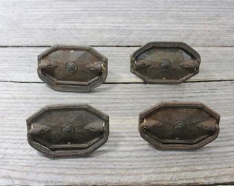 Set of four antique metal drawer pulls. Classic antique drawer pulls. Vintage hardware, hardware, pulls, drawer pulls, furniture