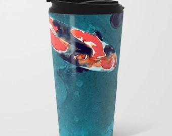 Travel Mug - Ceramic or Metal Coffee Cup - Koi Painting - Artistic Hot Cold 12 or 15oz Beverage Mug