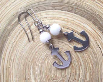 Anchor Earrings Stainless Steel Jade White