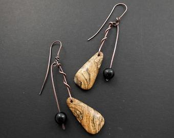 Picture jasper and onyx earrings-copper dangle earrings