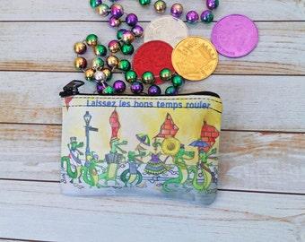Pochette de 3 x 5 pouces Mardi Gras Coin Purse petite pochette New Orleans Bourbon Street Parade Brass Band Alligator Cajun violet vert or
