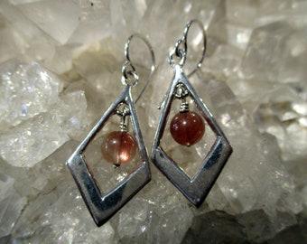Oregon Sunstone Dangle Earrings ~Hand Cast~ Sterling Silver