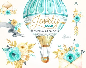 Lovely Flowers Gold. Airbaloons and more. Watercolor Clipart, peonies, arrows, banners, envelopes, golden, mint, valentines, wedding, floral