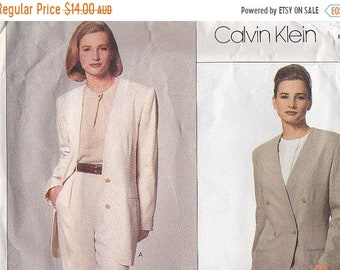 ON SALE 1990s Vogue Dress Pattern No 2724 Calvin Klein  Misses Jacket Size 14,16,18   36-40  inch bust, Uncut, Factory Folded