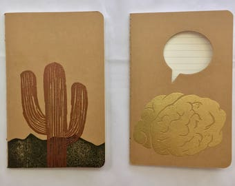 Small Notebook/Journal:  Brown, Stamped, Lined Pages