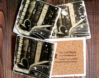 Book Love Tumbled Marble Coasters
