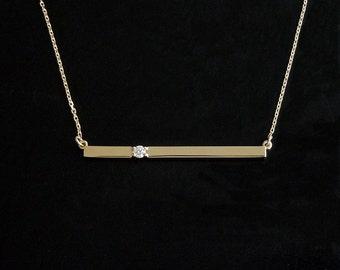 Diamond Bar Necklace 14kt Gold