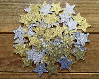 100 Glitter Star Confetti, Star decoration, Holiday Confetti, Star baby shower, baby shower confetti, Twinkle twinkle, star is born