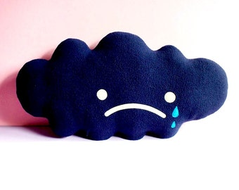 Dark Rain Cloud Cushion Cloud Plushie Cloud Pillow Sad Cloud Softie Rain Cloud Soft Toy Cloud Theme Decor Cute Kawaii Nursery Decor Nature