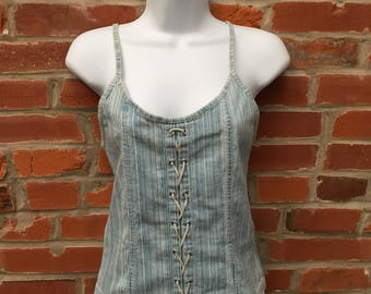Vintage 90s 2000s Denim Lace Up Top Womens