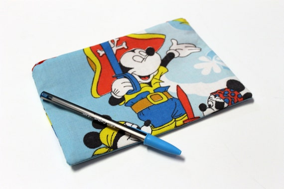 Pirate Mickey Mouse Small Zipper Clutch or Purse
