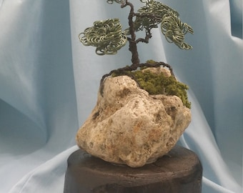 Wire tree sculpture, Bonsai, river rock, Gift, Birthday,  For him, 7 inches