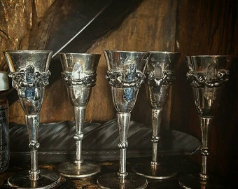 Crytalised Goblets, Chalice, Altar, Spells, Wicca, Wedding, Ritual, Occult, Quartz, Australian, Kyanite, Witchcraft, Heirloom, Antique, Love