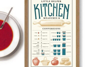Measurements Conversion Chart for Kitchen Art Print Rustic Decor Idea Cooking Gift Measuring Cup Help Guide Wall Art Antique Spoon