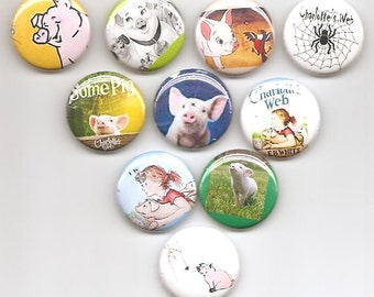 Charlotte's Web Set of 10 Pins Button Badge Pinback