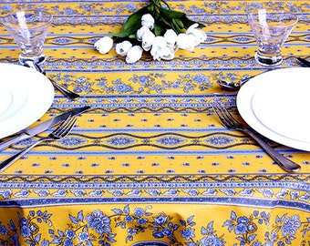 """Round Tablecloth 42 to 60"""" Provence Oilcloth Laminated Cotton Coated Avignon Gold and Blue - or custom made your size up to 115"""" diameter."""