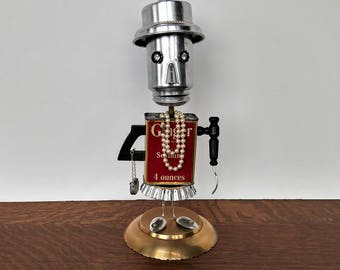 Assemblage Art Robot - Found object Art - Spice Tin Ginger - Upcycle Recycle Repurposed sculpture - Steampunk robot