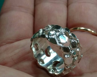 Sterling Silver Nugget Ring - Jewelry - men's ring