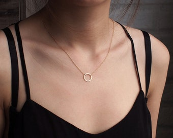 Circle Necklace, Karma Necklace, Dainty Minimal Circle Outline Necklace, Simple Geometric Layering Necklace in Sterling Silver #D61
