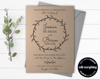Kraft Wedding invitation Template - Rustic Wedding Invitation Template - Printable Kraft Invitation - DIY Wedding Template- Instant Download