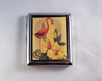 pink flamingo metal wallet retro vintage 1950's Florida cigarette case rockabilly kitsch