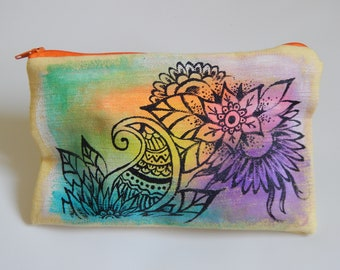 Zentangle colorful Pouch, Cosmetic Bag,Hand Painted Pouch, Travel Bag